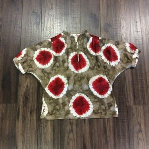 Micheal Michael Kors Red And Brown Tie Dye Blouse